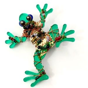 Funky Green Resin Frog Brooch